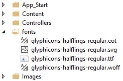 Archivos de fuentes de caracteres incluidos en Bootstrap