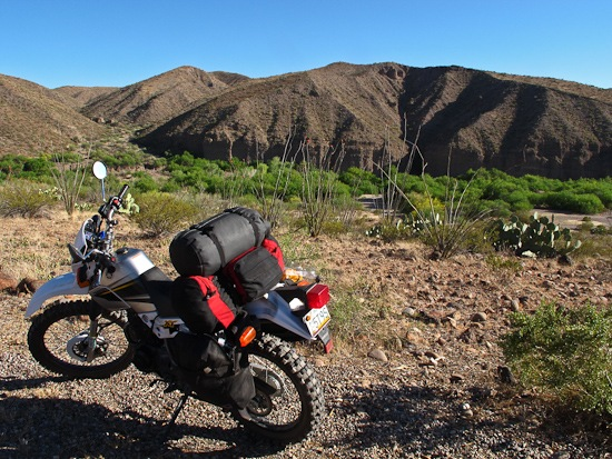 Packed XT225 at Gila Box RNCA Riverview Campground