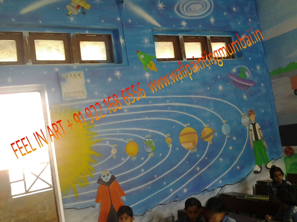 Kids school classroom wall murals malad jogeshvari for Classroom wall mural