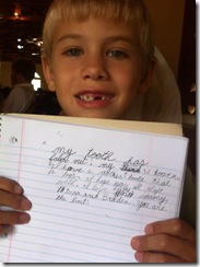 Drew's 3rd lost tooth Astruc