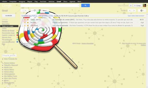 Papel de parede pirulito no Gmail