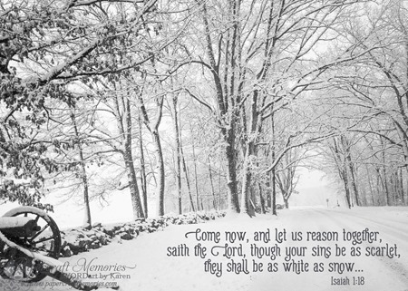 Gettysburg Snow--Isaiah 1:18 www.papercraftmemories.com