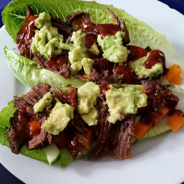 pulled beef and spicy avocado low carb lettuce wraps