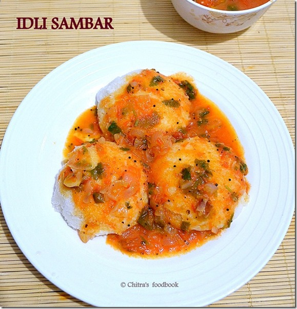 Tomato sambar with idli