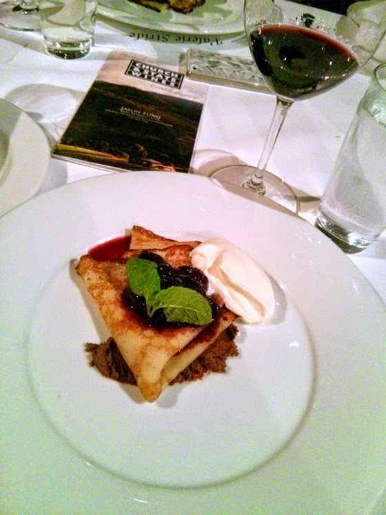 Dark Chocolate and Cherry Crepe with Church & State 2011 Syrah