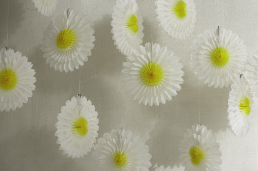 I strung up these festive tissue daisies (in the sale) when I had my daughters first birthday party. I really love how they turn any space into an instant party. 