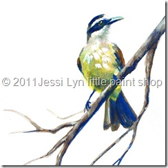 Jessi Lyn little paint shop woodland bird feather blue yellow