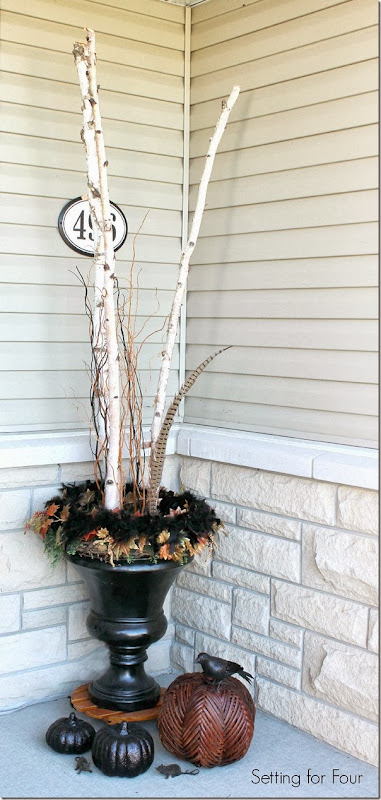 A Fall Birch Branch Urn - Setting for Four