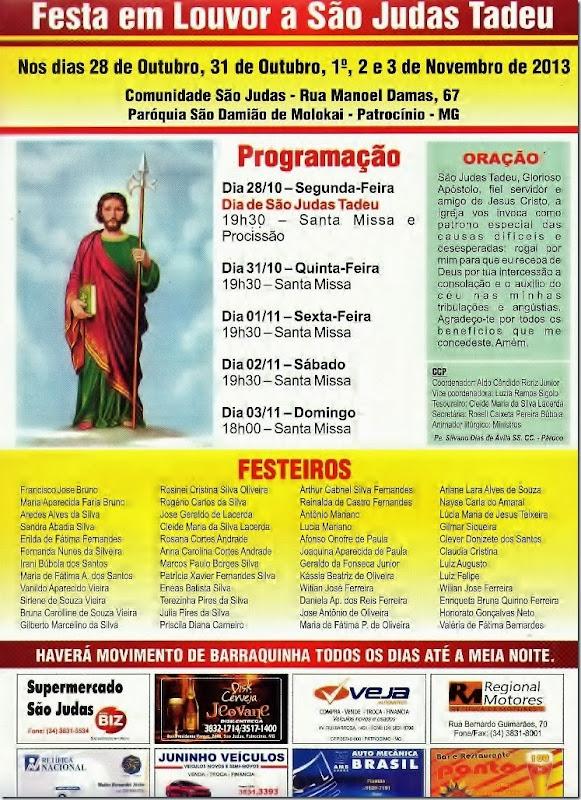 Festa de São Judas Tadeu - 2013 - Patrocínio MG - Witian - Programação - Cartaz