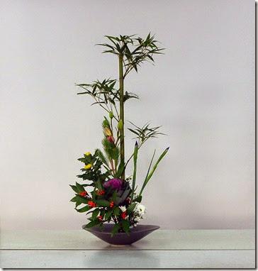 【盛花】正月花 竹、菊、葉牡丹、ユリ