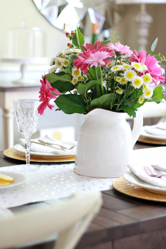spring table flower pitcher