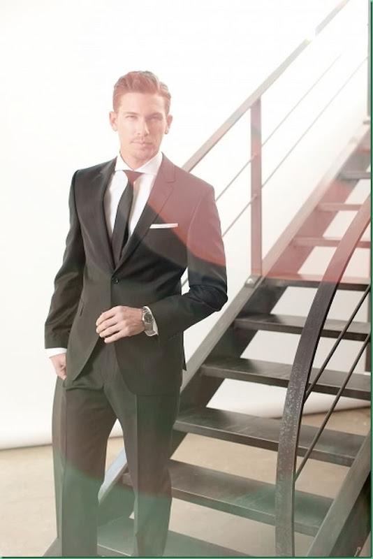Actor/Model Adam Senn wears Pierre Cardin FW 13 Collection