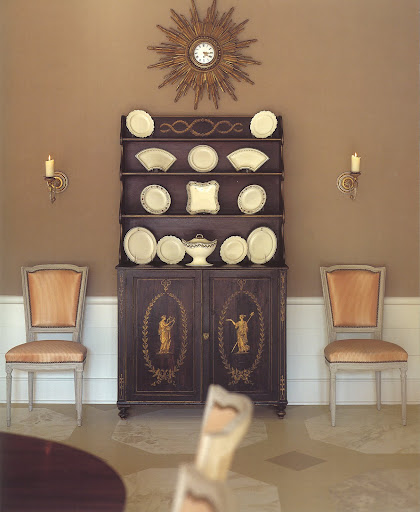 This is the dining room of Sunsong, a 1940s cottage on the old Floridian seaside.  The creation of this floor was inspired by sea shells in various shades of brown.  It sets a perfect stage for this collection of sepia-decorated creamware.