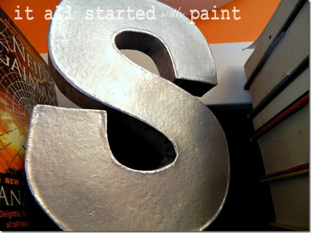 faux_metallic_silver_letter_with_paint for its_a_cinch