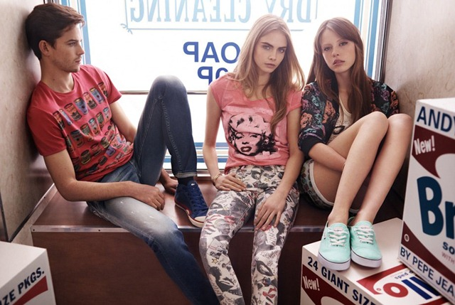Cara-Delevingne-Jeremy-Young-Mia-Goth-Pepe-Jeans-SS-2013-14