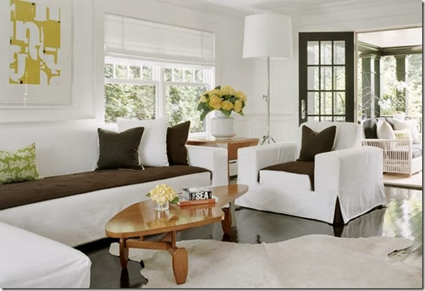 gordon alvarado hamptons house living room white armchair brown seat cushion and kick pleat
