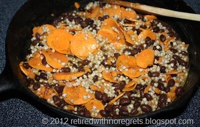 Buckwheat Groats Black Beans & Sweet Potato Pilaf - mixed finishing cooking