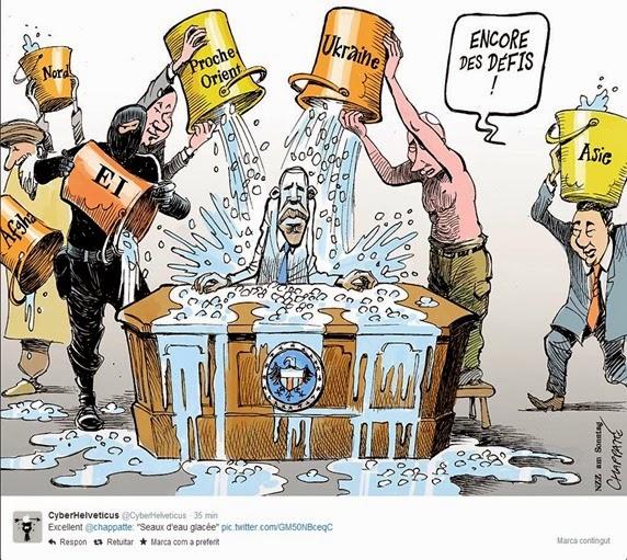 dessenh umoristic Obama e los defís politics mondials