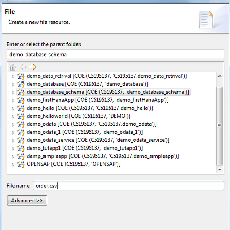 Set up initial data load for tables in SAP HANA