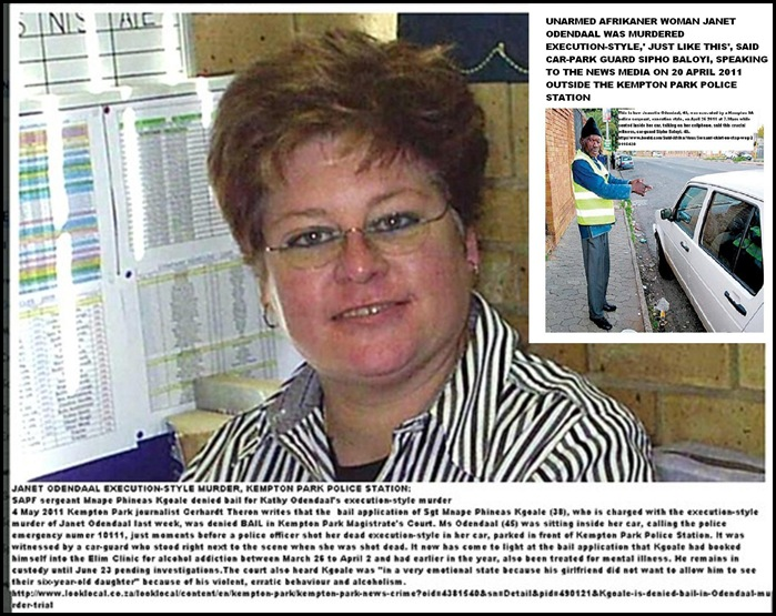 Odendaal Jeanette EXECUTED BY COP WHILE SHE PHONED 10111 said SIPHO BALOYI