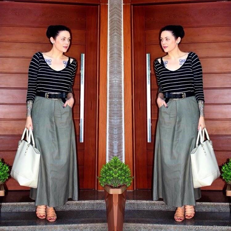look saia verde com blusa listras (2)