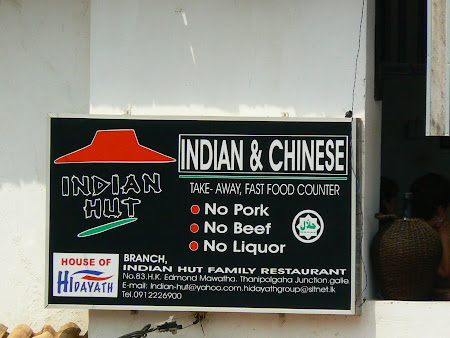 Where to eat in Galle: the Indian Hut restaurant - no pork, no beef, no liquor
