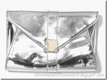 nasty gal silver metal clutch