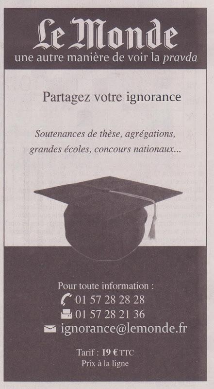 Lògo Le Monde e sa publicitat