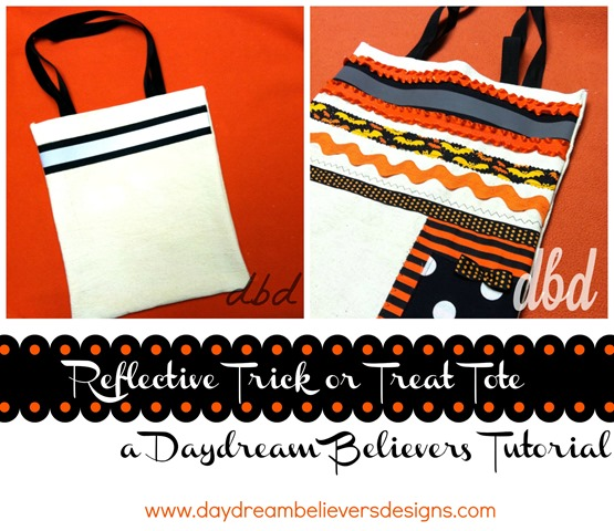 Free Tutorial How to make a reflective trick or treat tote DIY instructions by daydream believers