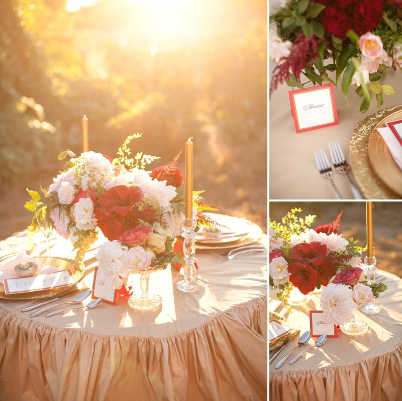 6OakandtheOwl_Gold Table Cloth Red Flowers