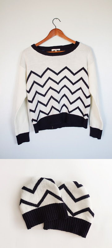 How to make a beanie from an old sweater, DIY hat from sweater, chevron hat