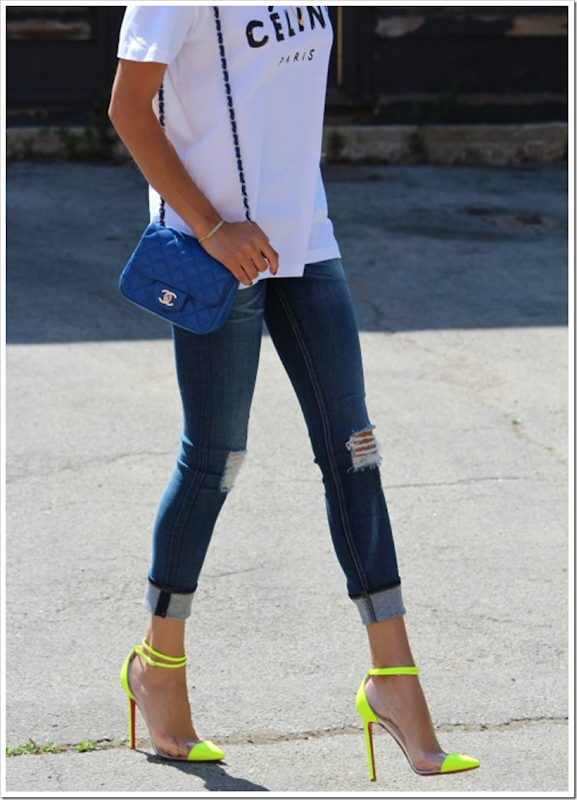 Christian Louboutin, Celine t-shirt, Chanel, Street Style, Fashion Blog,  Neon, High Heels, Cline Paris t-shirt, Cline