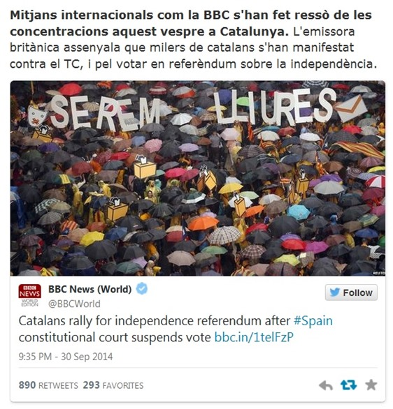 BBC anoncia las manifestacionS de Catalonha