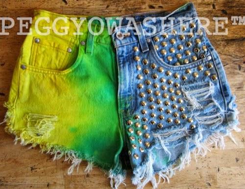 Ideias para customizar short jeans para Copa do Mundo Brasil - tingimento verde e amarelo e tachinhas