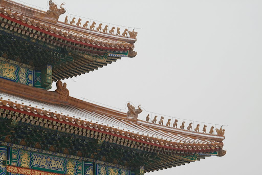 The importance of a building is noted by the number of animals on its roof corners, they also keep the tiles on.