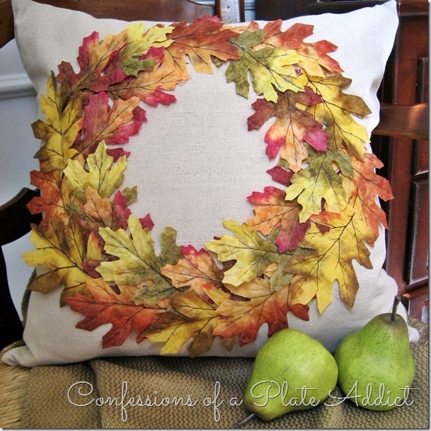 CONFESSIONS OF A PLATE ADDICT Pottery Barn Inspired No-Sew Fall Wreath Pillow