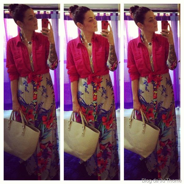 look vestido longo floral com camisa pink e maxi bolsa (1)