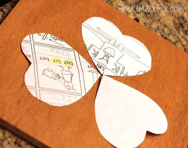 Paper heart template for shamrock