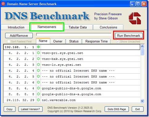 DNS Benchmark avviare il test
