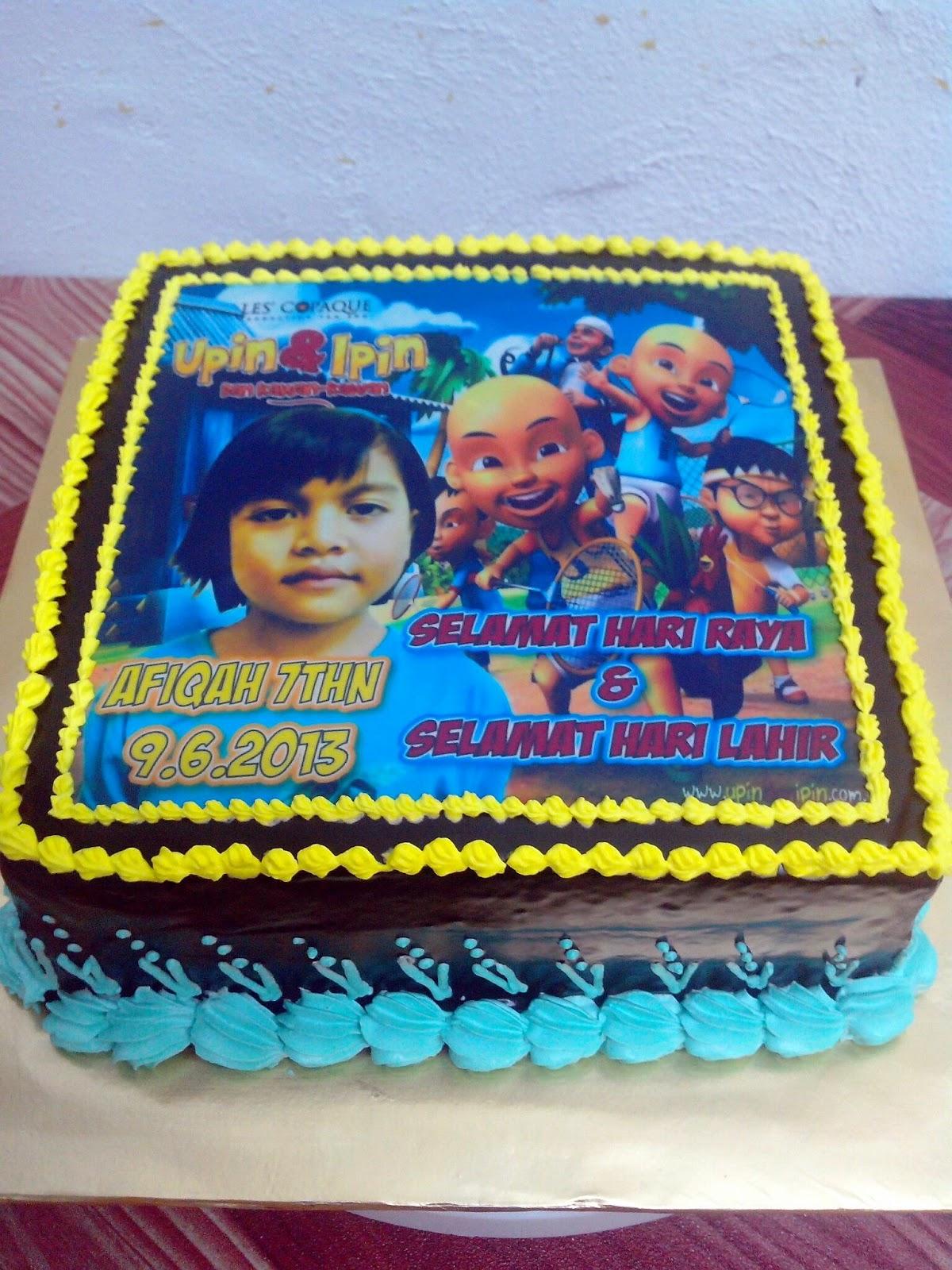 Chocolate Moist Cake Edibe Image Upin dan Ipin Birthday Cake Kek