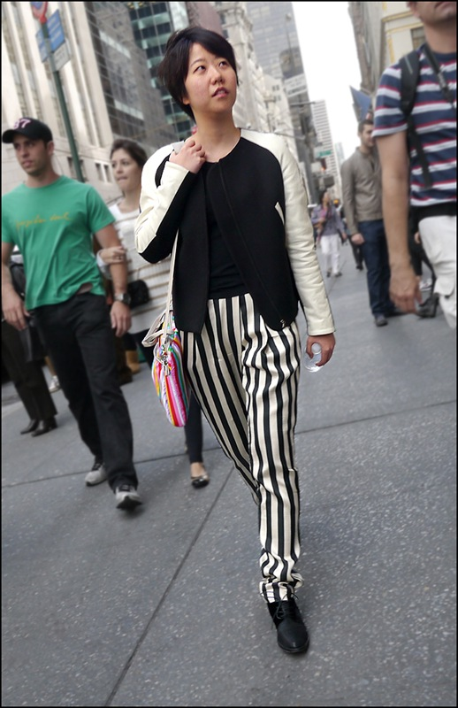 10 w Black and White stripe pleated pants black shirt black and white jacket ol
