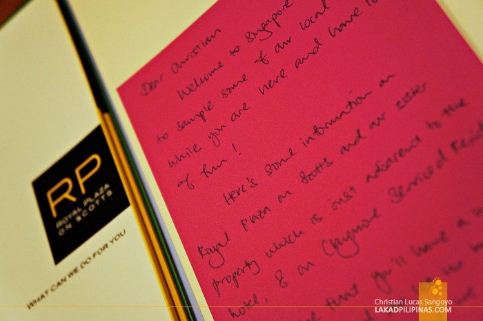 Handwritten Welcome Note at the Royal Plaza on Scotts Singapore
