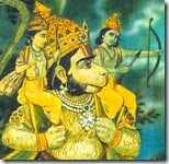 [Hanuman with Rama and Lakshmana]