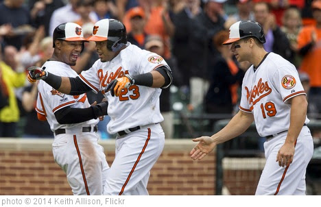 'Adam Jones, Nelson Cruz, Chris Davis' photo (c) 2014, Keith Allison - license: https://creativecommons.org/licenses/by-sa/2.0/