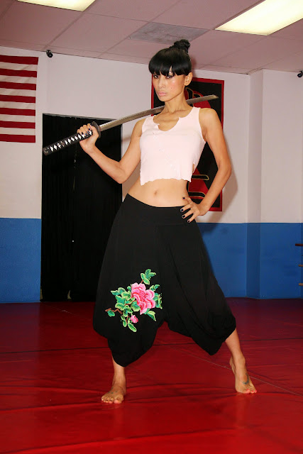 Bai Ling Martial Arts Training in Short Clothes Sexy Navel Hot small boobs