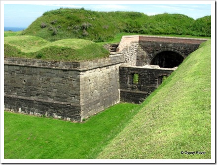 Gun emplacements like this faced each other to catch the enemy in across fire. Guns were also behind the mounds on top.