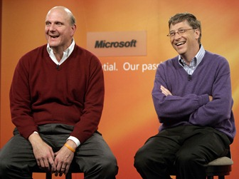 Microsoft Chairman Bill Gates (R) and company&#39; CEO Steve Ballmer take a reporter&#39;s question during a news conference at company headquarters in Redmond, Washington June 15, 2006. Microsoft announced that effective July 2008 Gates will transition out of a day-to-day role in the company to spend more time on his global health and education work at the Bill &amp; Melinda Gates Foundation.  After July 2008, Gates will continue to serve as the companys chairman and an advisor on key development projects.  Robert Sorbo/Microsoft/Handout