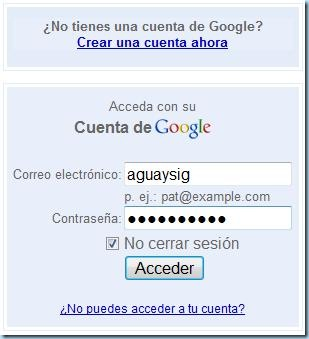 Correo y contraseña para Google analytics