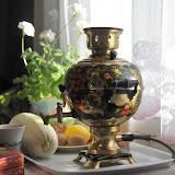 ロシアの伝統的なお茶用湯沸かし器「サモワール」。