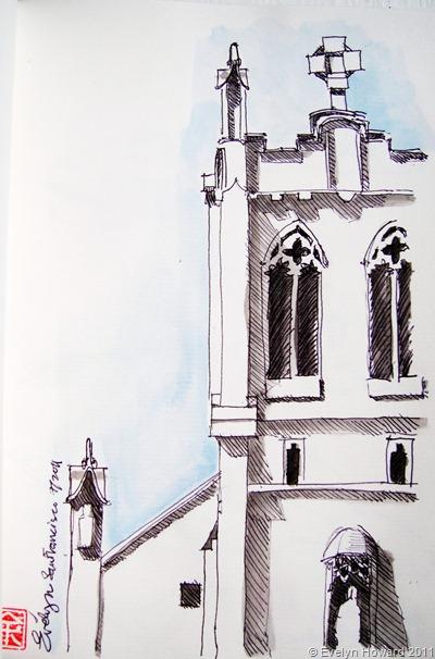 Church drawing © Evelyn Howard 2011